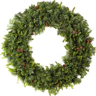 "Vickerman 60"" Cheyenne Pine Artificial Christmas Wreath, Unlit - Faux Christmas Wreath - Seasonal Indoor Home Decor"