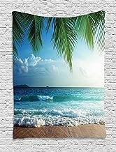 Ambesonne Ocean Tapestry, Palms Tropical Island Beach Seashore Water Waves Hawaiian Nautical Marine, Wall Hanging for Bedroom Living Room Dorm, 60