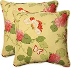 Pillow Perfect Outdoor Risa Corded Throw Pillow, 18.5-Inch, Lemonade, Set of 2