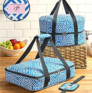 3pcs Celebrity TOP CHEF FOOD CARRIER SLOW COOKER AND CASSOROLE CARRIER WITH HANDLES… (BLUE A MAZE)