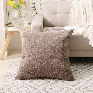 Home Brilliant Decorative European Pillowcase Sham Striped Velvet Chenille Plush Throw Pillow Cover Cushion Covers for Couch, (66x66 cm, 26inch), Brown