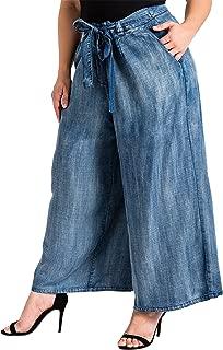 Plus Size Modern Womens Cropped Tencel Denim Palazzo Pants