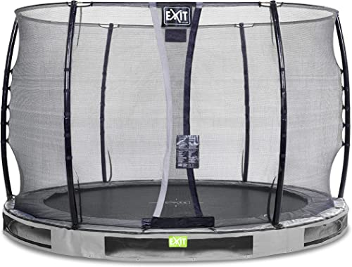 EXIT Elegant Premium InGründ-Trampolin  cm mit Economy Sicherheitsnetz - grau