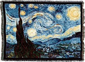 Pure Country Weavers | Starry Night Van Gogh Woven Tapestry Throw Blanket and Wall Hanging with Fringe Cotton USA 72x54