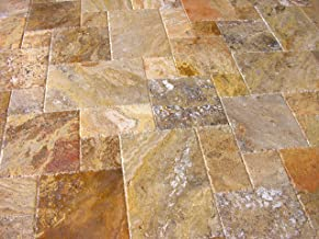 Scabos Travertine Versailles / Ashlar Pattern Tiles, Unfilled / Brushed & Chiseled (Small Sample)
