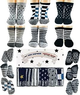 Tiny Captain Toddler Baby Boy Grip Socks, Best Gift For 1-3 Year Old Boys And Girls Anti Slip Non Skid Black, Grey, White, Stars & Stripes