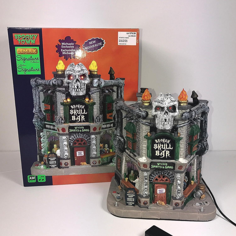 Lemax Over item handling ☆ Spooky Town Broken Denver Mall Collection Bar Signature Skull
