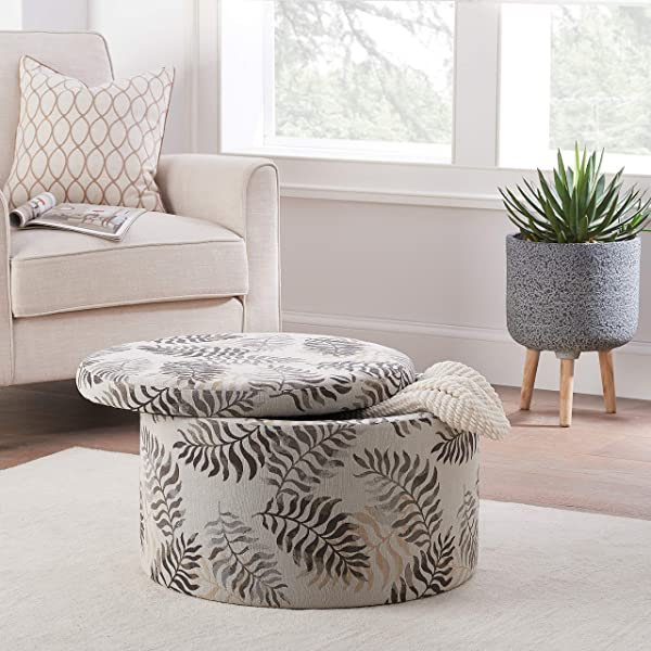 Stylish With An Elegant Modern Look Jacquard Fabric Round Storage Ottoman Ideal For Living Rooms Dens Family Rooms Bedrooms Guest Rooms Playrooms And Home Offices Fern
