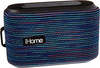 iHome Slip and Water Resistant Fabric Rechargeable Bluetooth Speaker with Speakerphone (Purple/White), iBT370UW