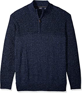 IZOD Men's Big and Tall Newport Marled Quarter Zip 7 Gauge Textured Sweater