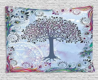 Ambesonne Nature Tapestry, Tree of Life Motif with Peacock Feathers Tribal Vintage Primitive Nature Illustration, Wide Wall Hanging for Bedroom Living Room Dorm, 60