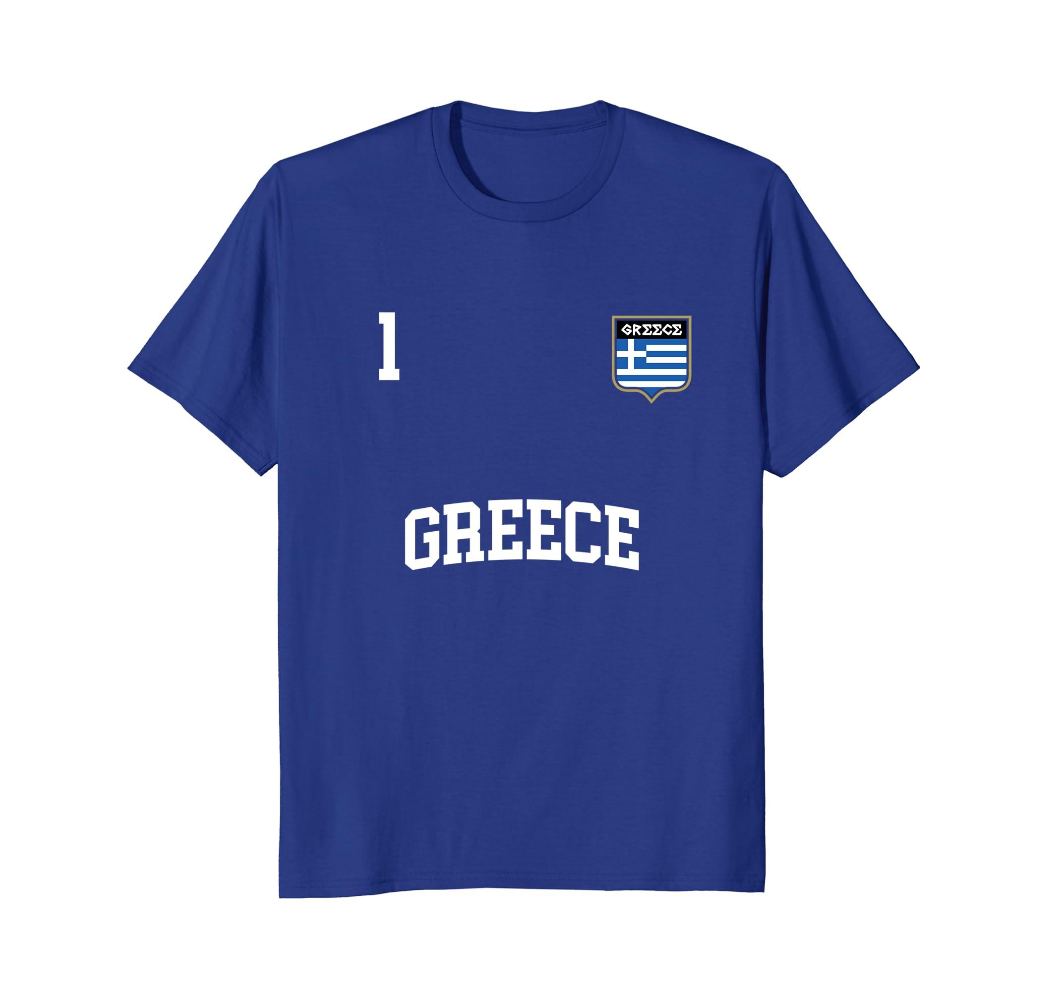 Amazon com: GREECE T-shirt No  1 Greek Flag Football Soccer Team