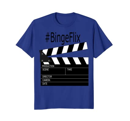 #BingeFlix movie buff t-shirt with film set clapper