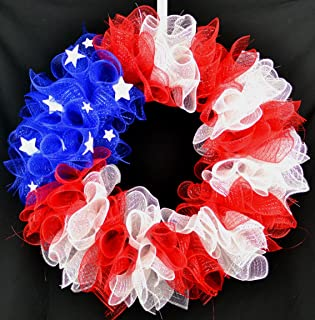 American Flag Fourth of July Mesh Door Wreath; Fourth of July Decor | Patriotic red white blue
