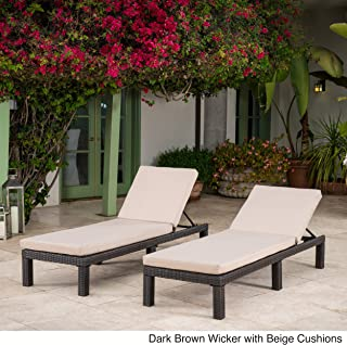 Great Deal Furniture Venice Outdoor Dark Brown Wicker Chaise Lounge with Beige Water Resistant Cushion (Set of 2)