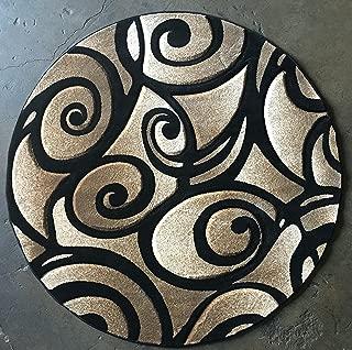 Modern Round Area Rug Black Sculpture Design S 241 (7 Feet 8 Inch X7 Feet 8 Inch )