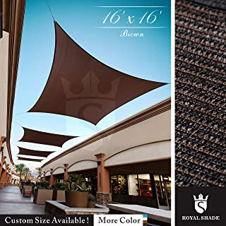 Royal Shade 16' x 16' Brown Square Sun Shade Sail Canopy, 95% UV Blockage, Heavy Duty 200GSM, Custom Made Size