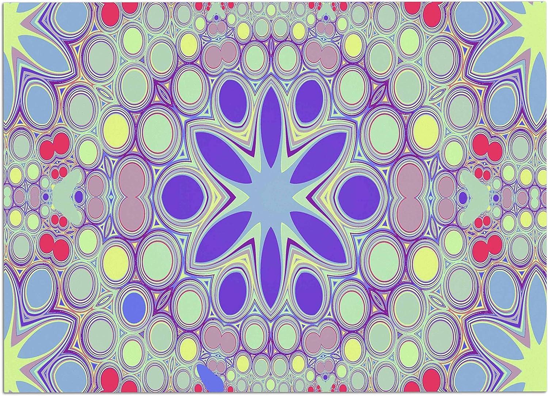 KESS InHouse AC1073ADM02 Alison Coxon Hippy Flowers Lavender Kaleidoscope Dog Place Mat, 24 x15