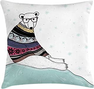 Ambesonne Bear Throw Pillow Cushion Cover, Hipster Polar Bear with Fair Isle Style Sweater Sitting on Ice Christmas Snowflakes, Decorative Square Accent Pillow Case, 18