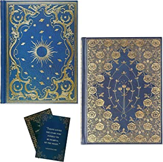 Antique Looking Journal Set - Gold Hardcover Diary for Women , Gilded and Celestial Lined Journals Vintage Look