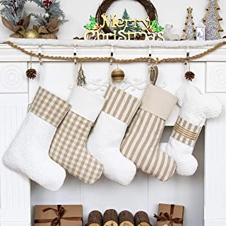 LUBOTS Set of 4 (4 Boots +1 Bone) Christmas Stockings(20inch) Plaid/Rustic/Farmhouse/Country Fireplace Hanging Canvas Hand...