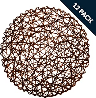 LuckyDream Round Paper Woven Placemats, 15-inch, Set of 12, Durable 100% Natural Paper Fiber, Decorative Rope Mesh Place Mats for Dining, Party and Wedding (Dark Brown)