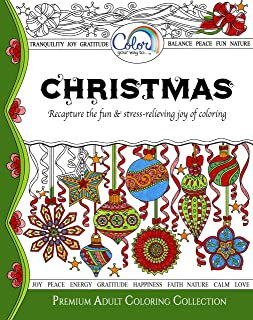 Adult Coloring Book, Color Your Way To CHRISTMAS, Premium Adult Coloring Pages for Watercolor, Markers, Colored Pencils, Made in the USA