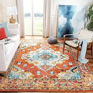 Safavieh Monaco Collection MNC243H Vintage Oriental Orange and Light Blue Distressed Area Rug (8' x 10')