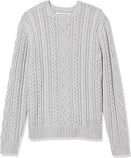 [Amazon Essentials] ケーブルニット クルーネック 100% コットン 長袖 フィッシャーマン セーター メンズ