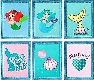 WATINC 6Pcs Mermaid Nursery Wall Decor, Mermaid Watercolor Art Prints Set for Nursery Decor Art, Baby Room Decor, Nursery ...