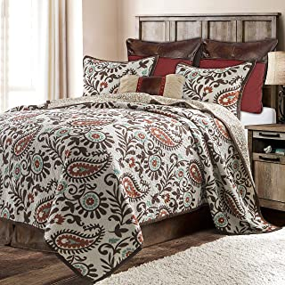 HiEnd Accents Rebecca 3-PC Western Paisley Quilt Set, King (White, Terra Cotta, Chocolate & Turquoise)