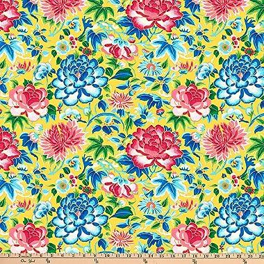 FreeSpirit Silk Road Ming Embroidery Yellow Fabric by the Yard