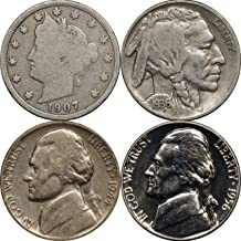 1883 -Date US Nickel Set of 4 Coins, Liberty V, Buffalo, Jefferson War & Proof Good
