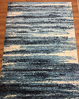 Antep Rugs Siesta Collection Modern Contemporary Polypropylene Indoor Area Rug (Blue/Navy, 5' X 7')