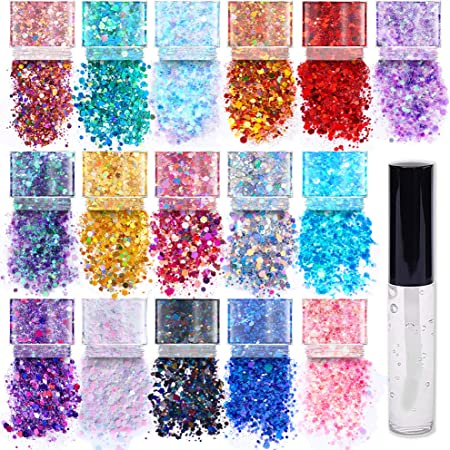 Chunky Cosmetic Holographic Glitter I Body, Face & Hair Safe I 16 Pack + 1 Glitter Glue