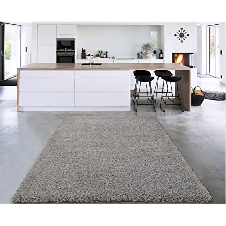 Amazon Com Sweet Home Stores Cozy Shag Collection Grey Solid Shag Rug 5 0 X 7 0 Contemporary Living And Bedroom Soft Shaggy Area Rug Furniture Decor