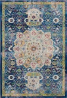 "Nourison Global Vintage Blue Multicolor Oushak Area Rug 5'3"" x 7'6"""