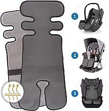 Atmungsaktive Sommer Sitzeinlage, Sitzauflage für Kinderwagen, Buggy und Kindersitz - Kühlt und schützt den Sitzbezug vor Flecken - Grau