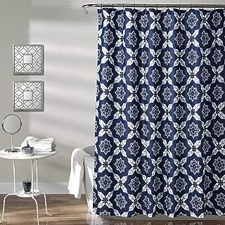 "Lush Decor Venus Medallion Shower Curtain-Fabric Mandala Bohemian Pattern Print Design, x 72"", Blue, 72"