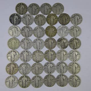 Standing Liberty Quarters Some Mint Marks Random Dates 90% Silver - 40 Coin Roll Avg Circ AG-VG All Full Dates
