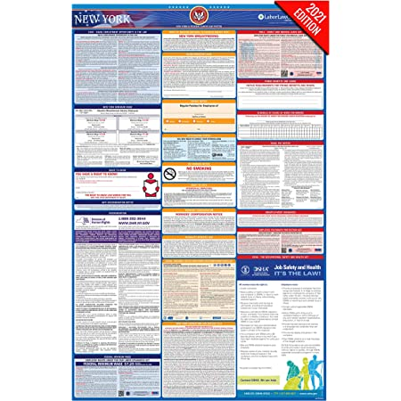 ny labor law poster 2021 edition state federal and osha compliant laminated poster new york english