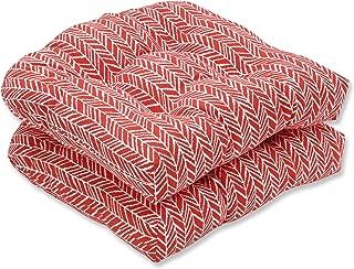 Pillow Perfect Outdoor   Indoor Herringbone Tomato Wicker Seat Cushion (, 2 Piece