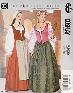 McCall's M2039 Women's Floor Length Skirt, Blouse, Vest, Apron, and Hat Historical Cosplay Costume Sewing Pattern, Sizes 12-16