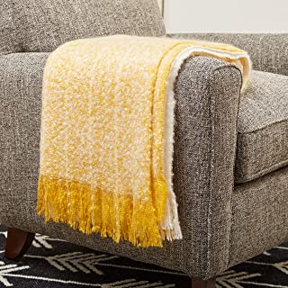 Rivet Super Soft Oversized Ombre Stripe Brushed Weave Throw Blanket, 60