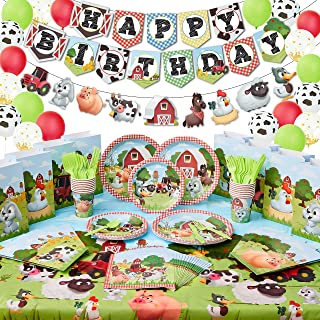 PARTYCROWD 16 Guests | Farm Birthday Party Supplies - Barnyard animal party decorations theme with birthday banner balloon...