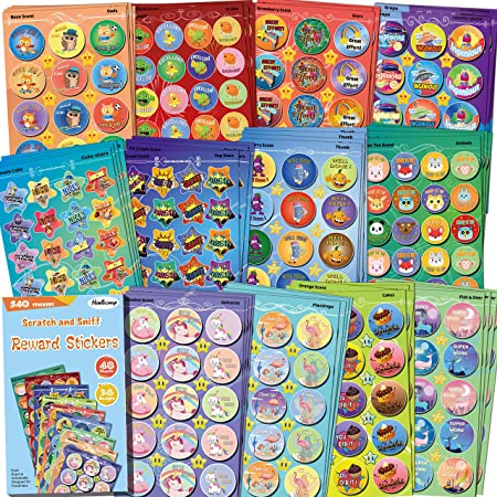 Horicaly Sheet of Scratch /& Sniff Stickers Peach Scent