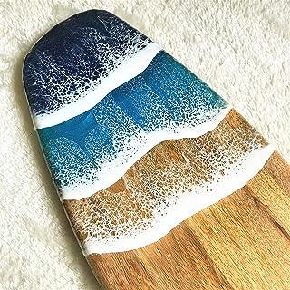 Tabla de cortar decorada con resina temática oceánica - 52 cm