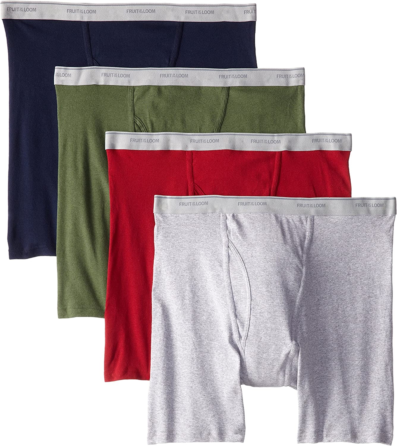 Fruit of the Loom Men`s 4-Pack Assorted Color Boxer Brief - X-Sizes