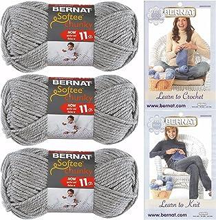 Bernat Softee Chunky Yarn, Super Bulky 6, 3 Skeins Grey Heather 28046 Bundle