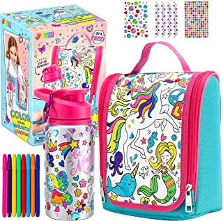 JOYIN Color Your Own Water Bottle and Lunch Bag with 8 Water Color Pens and 3 Sheets Adhesive Gems for Kids Coloring DIY A...